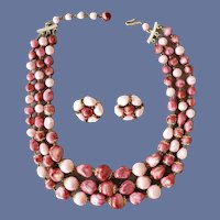 Pink Mauve Necklace and Earrings 1950s Hong Kong