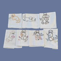 Days of the Week Dish Towels DOW with Cats Unused