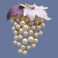 Lovely Grape Cluster Brooch Purple Enamel with Faux Pearls