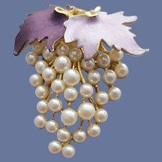 Lovely Grape Cluster Brooch Purple Enamel with Faux Pearls