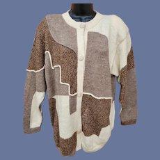100% Alpaca Sweater Intarsia Weave Superb XL