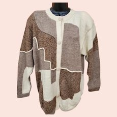 100% Alpaca Sweater Intarsia Weave Superb XL