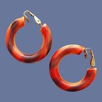 Hoop Style Clip Earrings Autumn Colors 1960s