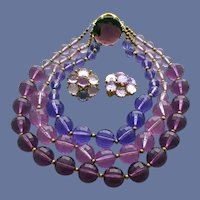 Necklace and Earrings Flamboyant Faceted Lucite Beads