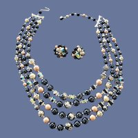 Unique Bead Necklace with Earrings Crystal Accents