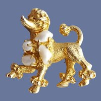 Prancing Poodle Brooch Freshwater Pearls 1960s Pin