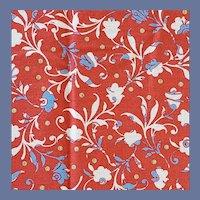 Cotton Floral Fabric Retro Red Fantasy 1930s Design