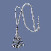 Extra Long Crystal and Chain Necklace Rhinestone Rondelles