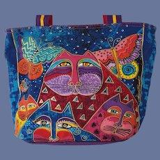 Laurel Burch Purse Cats Butterflies Colorful Canvas