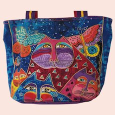 Laurel Burch Purse Cats Butterflies Colorful Canvas