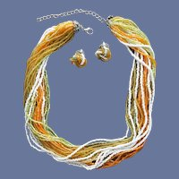 Multi Strand Bead Necklace with Pierced Earrings Warm Colors