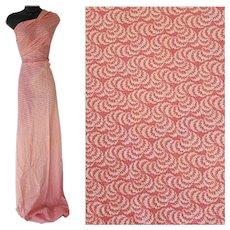 Cotton Sewing Fabric Pink White 2 Plus Yards