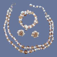 Crystal Parure Necklace Earrings and Bracelet