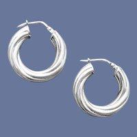 Sterling Earrings Spiral Huggie Hoops .925