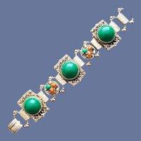 1950s Bold Jeweled Link Bracelet Fancy Metal Embossing