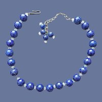 Art Glass Necklace Faux Lapis Lazuli Unsigned Hobe