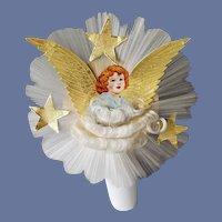 Angel Christmas Tree Topper Spun Glass 1940s