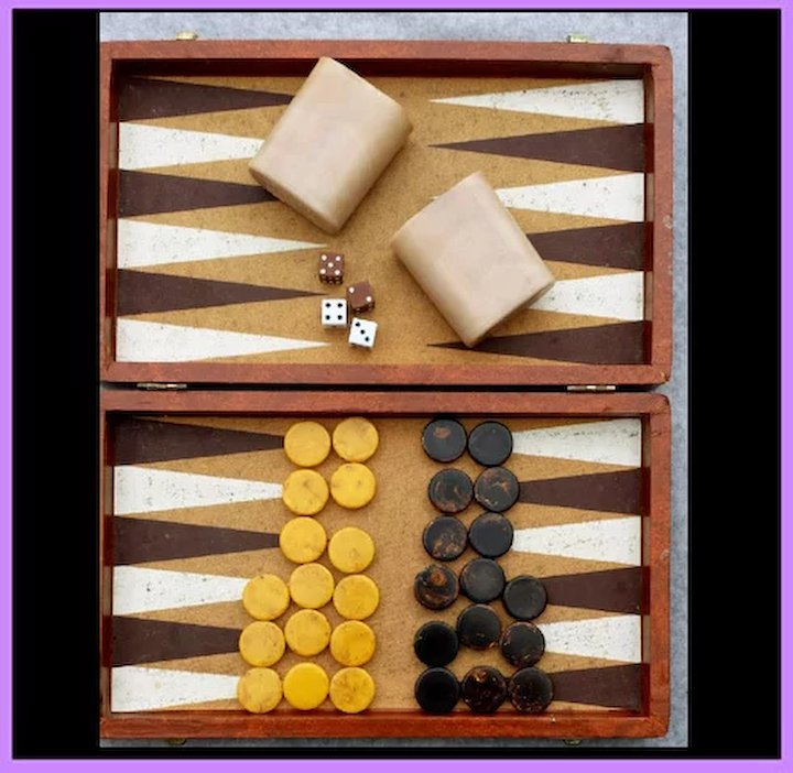 Vintage Bakelite Backgammon Game Set Cardinal Chips Dice With Cups