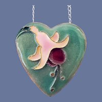Fuchsia Blossom Necklace Enamel over Copper .925 Chain