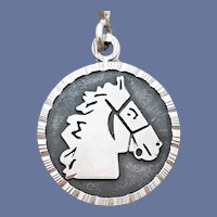 950 Silver Horse Head Pendant Artist Signed 10 Grams