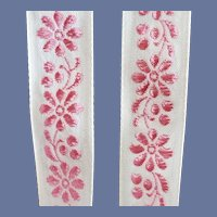 5 Yards Woven Pink Floral Trim Dolls Clothing Unused
