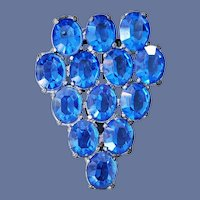 1940s Dress Clip Brooch Big Sparkly Blue Oval Rhinestones