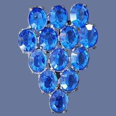 1940s Dress Clip Brooch Big Sparkly Blue Oval Rhinestones