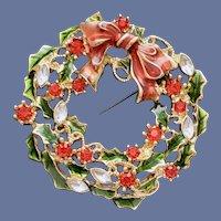Christmas Brooch Rhinestone Wreath Liz Claiborne
