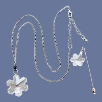 Crystal Snowflake Necklace and Scarf or Hat Pin Demi-Parure