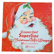 1960s Christmas Wrapping Paper in Santa Claus Box
