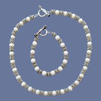 Necklace and Bracelet Pearl Sterling and 14k Parure