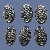 6 Vintage Glass Buttons Bronze Finish over Black