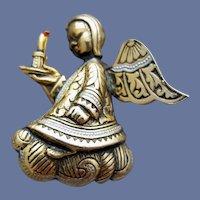Christmas Angel Brooch Damascene 3-D