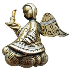 Christmas Angel Brooch Damascene 3-D