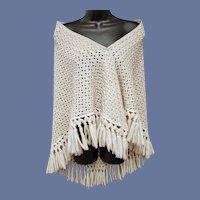Vintage Knit Shawl Gold Metallic Thread and Tassels