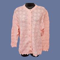 1960s Pink Cardigan Knit Sweater Unworn Medium