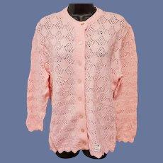 1960s Pink Cardigan Knit Sweater Unworn Size Large