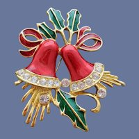 Christmas Bells Brooch Red Enamel Crystal Rhinestones