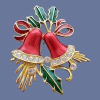 Christmas Bells Brooch Red Enamel Crystal Rhinestones