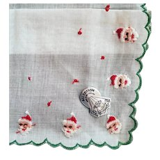 1950s Embroidered Christmas Handkerchief Santa Claus Hankie