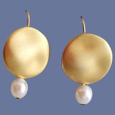 Pierced Earrings Maxine Denker Gold Tone and Faux Peals