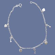 Ankle Bracelet Sterling Silver Hearts and Keys 4.3 Grams