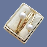 14k Yellow Gold and Perfect Pearl Ring Unique Design