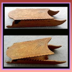 Rare Antique Toy Christmas Candy Container Pyrograph Miniature Sleigh Sled