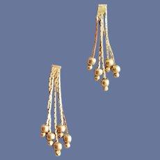 14k Gold Pierced Earrings Delicate Dangles 1.8 Grams