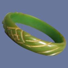 Carved Bakelite Bangle Gorgeous Green