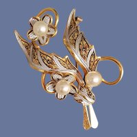 Unique Damascene Brooch Faux Pearl Accents