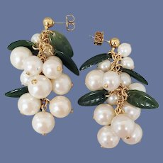Pierced Earrings Dangling Snowberries Unworn