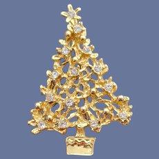 Rhinestone Christmas Tree Brooch Modernist Holiday Pin