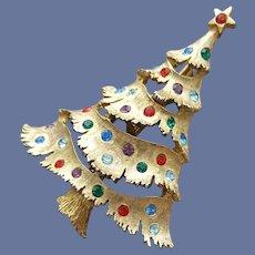 Designer Christmas Tree Brooch Rhinestone Pin
